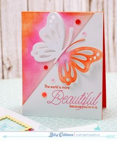 World Is More Beautiful Card by Betsy Veldman for Papertrey Ink (August 2015)