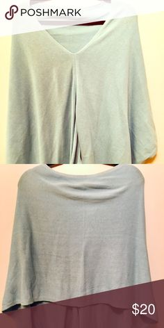 Baby blue lightweight sweater poncho Never worn baby blue poncho cotton cashmere blend Jackets & Coats Capes