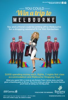 Win a trip for two to Melbourne! Only at Botany Town Centre