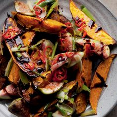 Roasted Sweet Potatoes and Fresh Figs, with syrupy balsamic reduction and a drizzle of chile oil for kick. Sounds just wonderful. You won't need the sugar for this one.