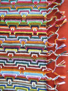 HOLD Funky Boho Crochet Throw Vintage Afghan Bright by akaATA