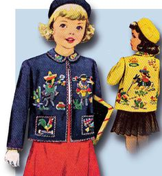 1940s Rare Original Vintage McCall Pattern 1464 Toddler Girls Mexican Jacket Sz6 #McCall #MexicanJacketandBeretPattern