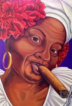 "Cuban Woman with Cigar ""Cigar Mama"" Giclee print of original oil painting African American Art, African Art, Cuban Women, Cuban Culture, Afro Cuban, Cigar Art, Caribbean Art, Smoke Art, Arte Pop"