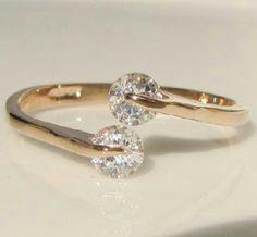 0.46 CT Round Swarovski Crystal Rose Gold GP Promise Engagement Ring