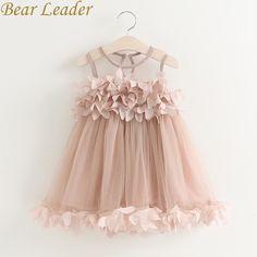 Детское платье для девочки с рисунком медведя Летняя Новинка 2017 г. сетки Обувь для девочек одежда розовый аппликация платье принцессы Детская летняя одежда Платье для маленьких девочек купить на AliExpress