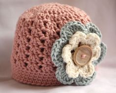 Newborn 0-3 mths 3-6 mths Crochet Poppy Pink Cotton Baby Hat peppa loves vintage