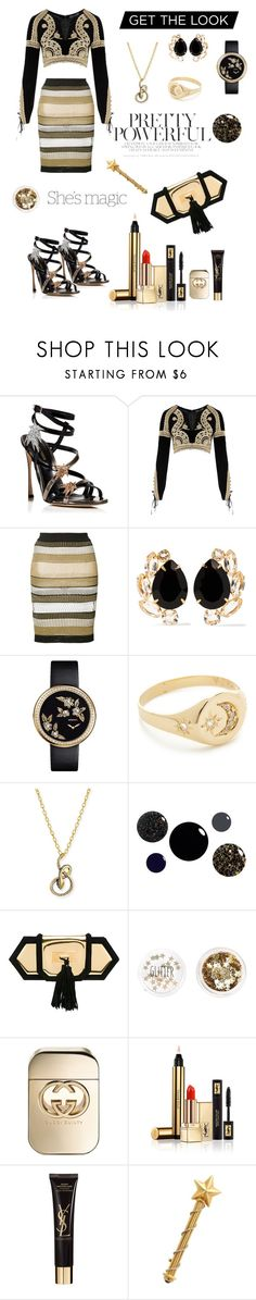 """Bold & Daring Women✨"" by juliamariemcmahon ❤ liked on Polyvore featuring Sergio Rossi, For Love & Lemons, Balmain, Bounkit, Chanel, Jacquie Aiche, Albert Malky, Nicole, Topshop and Gucci"