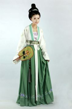 """""""Hanfu (han chinese clothing) from 锦瑟衣庄/Jinse Yizhuang's collection. """" These Hanfu are all waist-high, parallel-collar Ruqun/襦裙, except for Row which is chest-high Ruqun. Style Oriental, Oriental Fashion, Ethnic Fashion, Asian Fashion, Chinese Fashion, Hanfu, Traditional Fashion, Traditional Dresses, Traditional Chinese"""