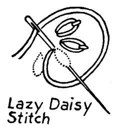 Embroidery Stitches: Pekingese Or Chinese Stitch - Outline Stitch (Stem Stitch) - Long & Short Stitch - Lazy Daisy Stitch - Ladder Or Step Stitch - Herringbone Stitch - French Knot - Fly Stitch - Feather Stitch - Eyelet Stitch