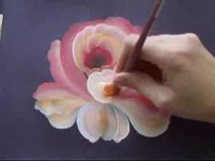 How to paint a rose One stroke - YouTube