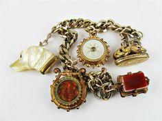 Antique Victorian Gold Gilt Charm Bracelet Wax Seal Watch Fob Dog Moon Intaglio | eBay