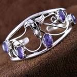 American Navajo Indian Amethyst and Sterling Silver Bracelet