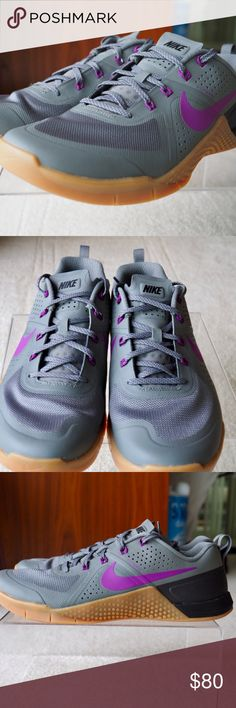 53f9dc75e67fce Nike Metcon 1 Cross Training Shoe New without tags box Style Code  Color   Tumbled Grey Gum-Vivid Purple Nike Shoes Athletic Shoes