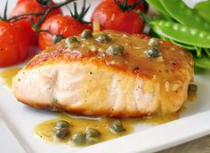 Pan Seared Salmon with Dijon Maple Butter Sauce - .This simply seasoned and pan seared salmon is served with a luscious, easy to make, quick butter sauce made from just a few simple ingredients. Salmon Recipes, Fish Recipes, Seafood Recipes, Cooking Recipes, Healthy Recipes, Rock Recipes, Salmon Food, Cooking Food, Sauce Recipes