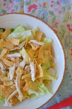 Chinese chicken salad recipe. Try this with ingredients from ca ckn cafe: lettuce with white meat chicken, almonds, Chinese noodles, ww pasta, green onions, Mandarin oranges, and carrots