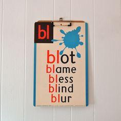 Vintage Phonics Flashcard - BLOT (bl).