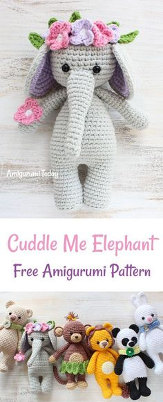 This Cuddle Me Elephant just can't wait to be nursed and protected. Decorated with tropical flowers, soft crochet elephant brings the sparkle into every child's eyes. It can make a cute birthday present! The Cuddle Me Elephant Crochet Pattern will help you to create such a beautiful toy for your loved little one!