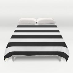 Stripe Black & White Horizontal Duvet Cover by Beautiful Homes