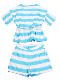 Blue White Striped Ruffles Belt Top With Shorts