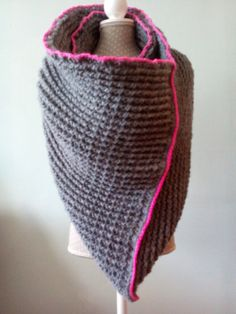 Grey chunky crochet scarf with secret by LittleStitchingWitch, €40.00