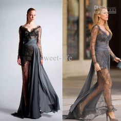 Wholesale Gossip Girl Blake Grey Zuhair Murad MDE908 Long SLeeve See through Lace Dress Prom Dresses 2013, Free shipping, $114.24-128.8/Piece | DHgate