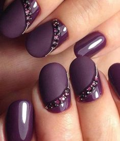 NagelDesign Elegant ( Winter Nail Art Designs a. ) You are in the right place about wedding nails for bride navy Here we offer you the mos Purple Manicure, Purple Nail Art, Purple Nail Designs, Blue Nail, Acrylic Nail Designs, Manicure And Pedicure, Nail Art Designs, Nails Design, Pedicure Ideas
