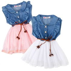 Material: Denim and Mesh    2 Colors to choose: White, Pink   Department Name: Children   Sleeve Length: Sleeveless   Style: Fancy   Design: Cute   Very good provide condition showing very minimal wash/wear.   Package Content: 1 x Girl's Dress  Note:      Tag. NO     Height     Age     Bust     Waist     Length       90     85-95     2-3     73 cm     28.5 inch     66 cm     25.7 inch     42 cm     16.4 inch       100     95-105     3-4     75 cm     29.3 inch     68 cm     26.5 inch     ...