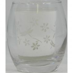 Glass Tea Light Holder Clear with Flowers and Butterflies