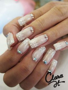 lace bridal nails