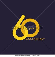 60 years anniversary, signs, symbols, which is yellow with flat design style
