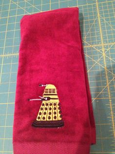 Apparently the idea of a Doctor Who bathroom is not crazy! - Custom Embroidered Doctor Who Dalek Hand Towel