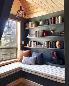 36 Trendy Home Library Window Seat Interior Design Home Design, Home Library Design, Home Interior Design, Library Ideas, Interior Ideas, Interior Modern, Room Interior, Modern Decor, Design Design