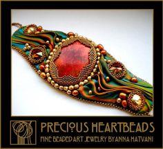 Perle broderie Bracelet manchette Teal or Bronze Orange - perle brodé - Siren brassard Shibori - fashion - OOAK
