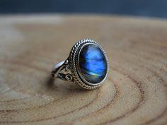 Labradorite Ring, Sterling Silver Ring, Size 7 Labradorite, Boho Ring, Handmade Jewelry, Gemstone Ring, Gift for women, Blue boho ring