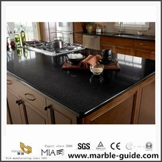 Black Quartz Kitchen Countertops, Kitchen Cabinets, Engineered Stone, Kitchen Tops, Wooden Case, Prefab, Interior And Exterior, Hot, Home Decor