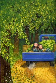 Pinzellades al món, jimmy liao Taipei, Children's Book Illustration, Whimsical Art, Love Art, Land Scape, Illustrations Posters, Watermelon, Art For Kids, Street Art
