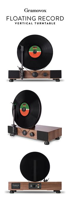 Gramovox Floating Record Vertical Turntable with| Walnut Finish - Record Player, Turntable, Music, Audio, Records, Vinyl, Audiophile -   http://www.pinterest.com/TheHitman14/the-record-player-%2B/