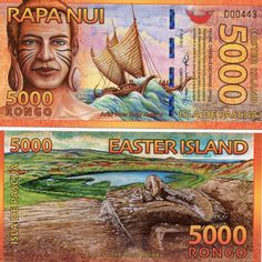 EASTER ISLAND - ISLA DE PASCUA 5000 RONGO 2012 UNC BEAUTIFUL POLYMER  NOTE  picclick.com Polynesian Islands, Easter Island, World Coins, Stamp Collecting, Science And Nature, Things To Come, Crater Lake, Pacific Ocean, Archaeology