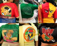 We found this really cool brand called अबnoरmal (Abnormal) from where you can get different and quirky saree blouse designs for parties New Saree Blouse Designs, Fancy Blouse Designs, Fabric Paint Designs, Hand Painted Dress, Stylish Blouse Design, Designer Blouse Patterns, Fabric Painting, Dress Painting, Fabric Art