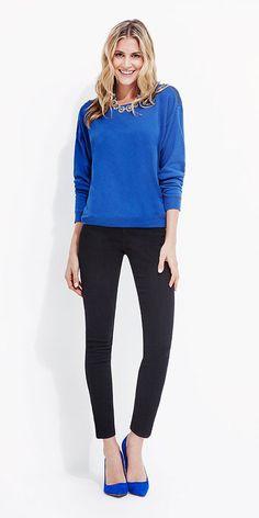 bright blue sweatshirt