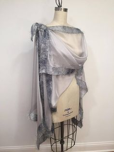 5777808d1b41f Asymmetric Gray Silk Chiffon Poncho, Light Weight Wrap, Plus Size, One  Size, Eyelashes Trim, Shawl, Cape