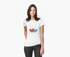 Cute romantic red and blue hearts pattern design over dark blue background. • Also buy this artwork on apparel, stickers, phone cases, and more.