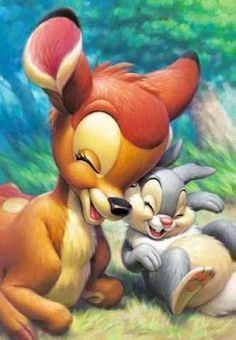 Bambi and Thumper cartoon illustration via www.Facebook.com/DisneylandForMisfits