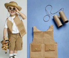 Safari Explorer vest and binoculars. Jungle Party, Safari Party, Safari Theme, Jungle Theme, Themed Halloween Costumes, Baby Costumes, Safari Costume, Safari Crafts, Safari Vest