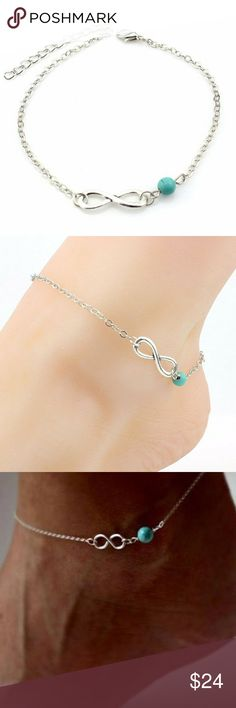 New!! Boho Silver Anklet w. Infinity & Bead Charms Brand new with tags in original packaging!  Summer fashion boho anklet with an infinity / infinite charm and dainty turquoise bead. 22cm length is adjustable with 5cm extender. link chain.  silver tone, allergy friendly, nickel & lead free.  Bundle & save!! Jewelry