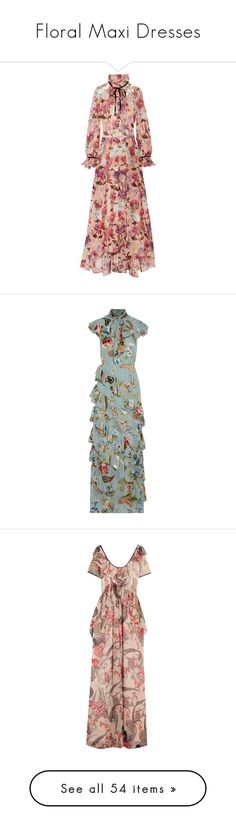 """""""Floral Maxi Dresses"""" by queerlillady ❤ liked on Polyvore featuring dresses, pink, chiffon dress, floral print maxi dress, metallic dress, flower printed dress, colorful maxi dress, flounce dress, multi color maxi dress and chiffon maxi dress"""