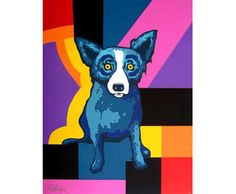 George Rodrigue Rainbow Squares painting outlet for sale, painting