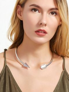 Unique Curved Arrow Silver Plated Choker Necklace