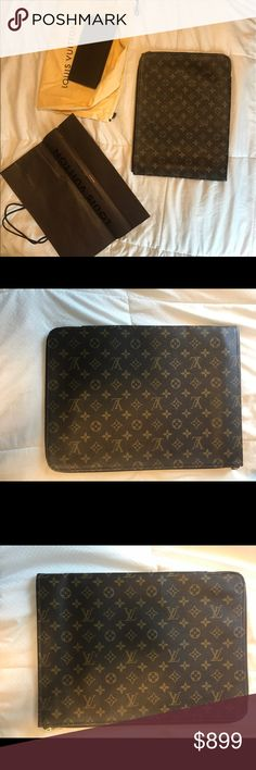 100% Authentic Louis Vuitton Laptop case In perfect condition! Have the shopping bag and drawstring bag it came in (originally $1,600) Louis Vuitton Bags Laptop Bags