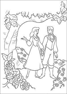 kleurplaat Assepoester - Assepoester en de prins